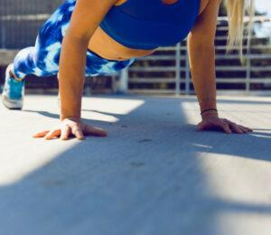 image of a girl doing modified pushups