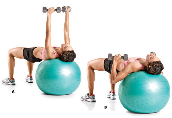 image of a woman doing dumbbells dumbbell chest press on the stability ball