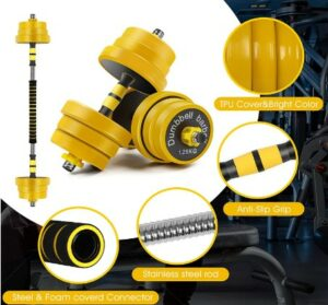 CDCasa Adjustable dumbbell Set -What Are The Small Home Exercise Equipments To Train & Lose Excess Calories?